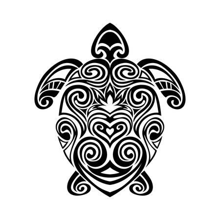 Decorative turtle in maori tattoo style silhouette. vector illustration background. Stock Illustratie