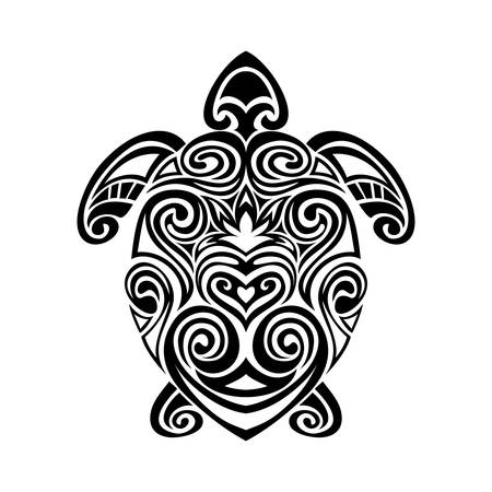 Decorative turtle in maori tattoo style silhouette. vector illustration background. Çizim