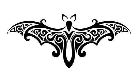 Decoratieve versiering bat silhouet. vector illustratie achtergrond.