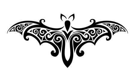 Decorative ornamental bat silhouette. vector illustration background. Illustration