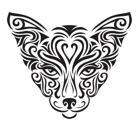 Decorative ornamental cat silhouette. vector illustration background.