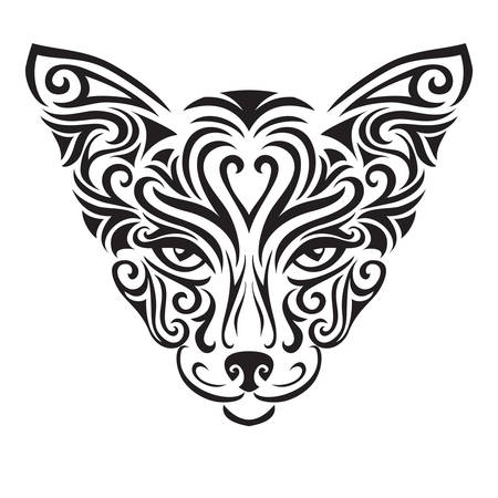 abstract animal: Decorative ornamental cat silhouette. vector illustration background.