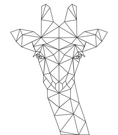 Decorative polygonal giraffe silhouette. vector illustration background.