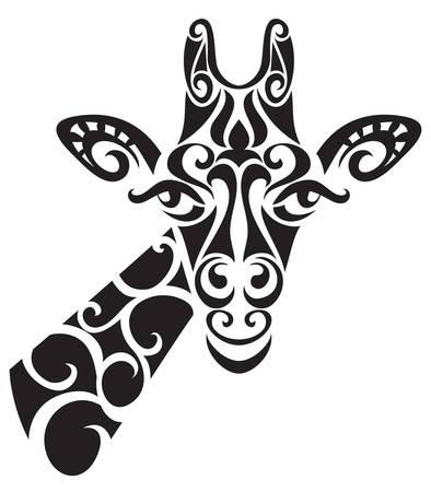 Decorativo de la silueta de la jirafa ornamental. ilustración vectorial de fondo. Ilustración de vector