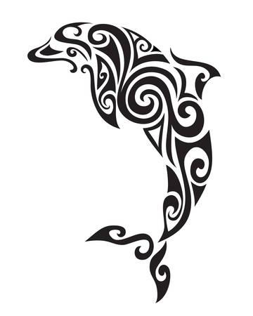 dauphin: D�coratif ornement silhouette de dauphin. illustration vectorielle fond.