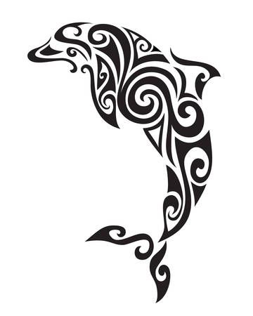 classic tattoo: Decorative ornamental dolphin silhouette. vector illustration background.