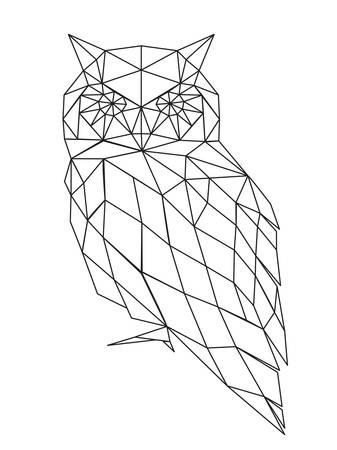 poligonos: Decorativo silueta del búho poligonal. ilustración vectorial de fondo.