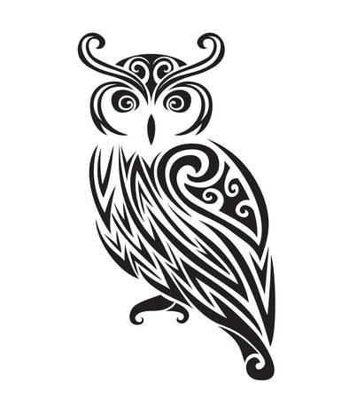 owl tattoo: Decorative ornamental owl silhouette. vector illustration background.