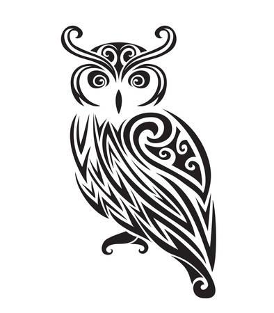 tribales: Decorativo silueta del búho ornamental. ilustración vectorial de fondo.