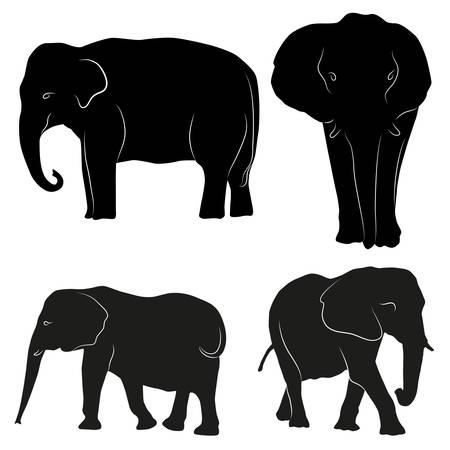 tusk: Decorative ornamental elephants silhouette. vector illustration background. Illustration