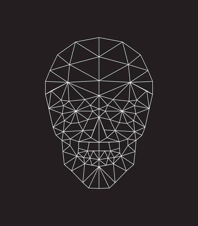 skull logo: polygonal skull. vector illustration black and white background.
