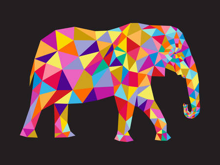 animal silhouette: colorful elephant abstract card.