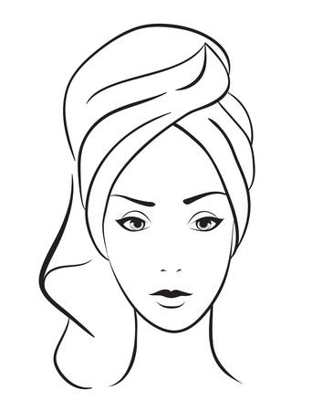 beauty woman with towel. Illustration