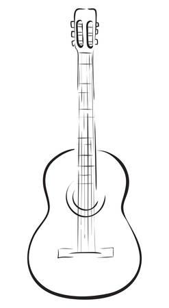 Guitarra acústica clásica. Ilustración de vector