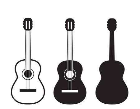 guitarra: Conjunto de símbolos guitarras. Vectores