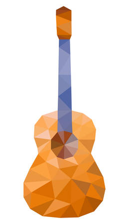 Abstract Acoustic guitar. Polygonal style.