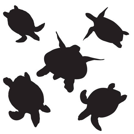 swims: turtle silhouettes on the white background. Vector icon
