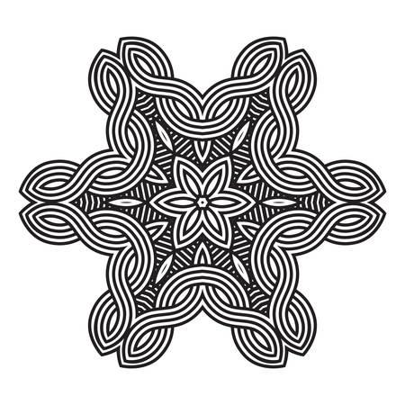 tibet: Ethnic Fractal Mandala. Vector Circle Meditation Tattoo