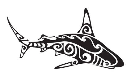 Ornamental decorative shark tattoo. Creative sticker for design. Vector illustration Çizim