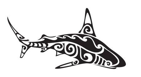 Ornamental decorative shark tattoo. Creative sticker for design. Vector illustration Illustration