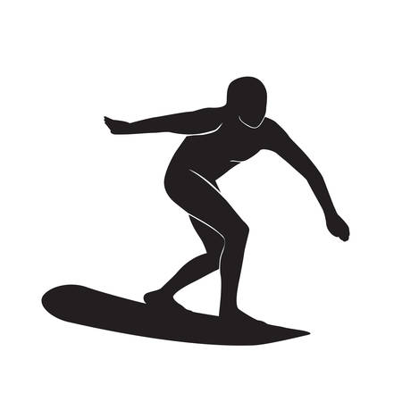 black surfer silhouette style. vector illustration. isolated background