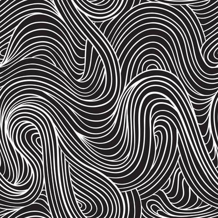 tiré par la main seamless pattern. rayures ondulées vecteur de fond