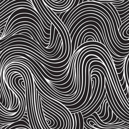 hand drawn seamless pattern. wavy stripes vector background