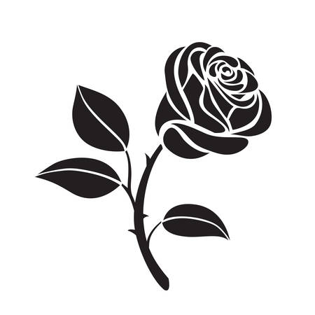 rose: Abstract Flower rose vector outline icon. Creative Luxury Fashion logotype concept icon. Rose logo
