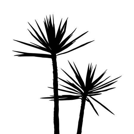 Tropical plants silhouette Black print wall decor