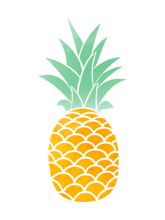 Pineapple tropical fruit. Vector object. Health symbol Фото со стока - 85127875