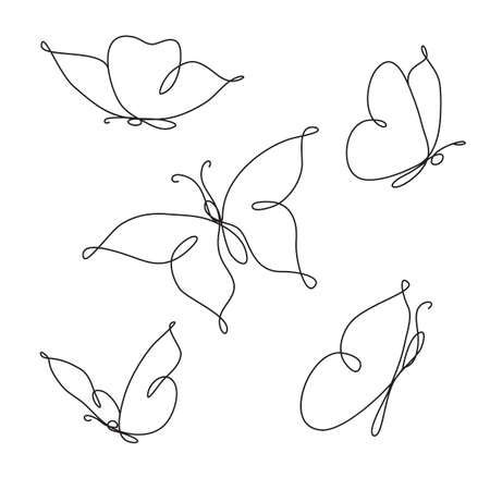 Line art butterfly. Abstract modern decoration. Vector illustration. One line drawing. Fancy line art. Black and white. Trendy concept for icon, card, banner, poster flyer
