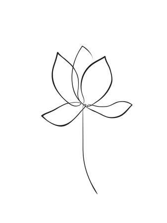 Lotus flower line art. Minimalist contour drawing. One line artwork