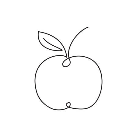 Apple icon. Single line drawing art