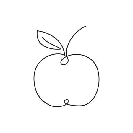 Apple icon. Single line drawing art