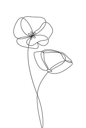 Icona del fiore di papavero, logo, etichetta