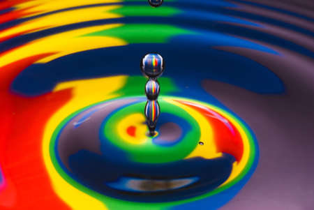 close-up of multicolored water drop with black and white outline photo