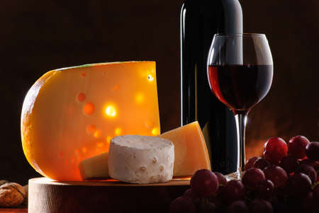 parmesan cheese: composition with grape, wine and various types of cheese