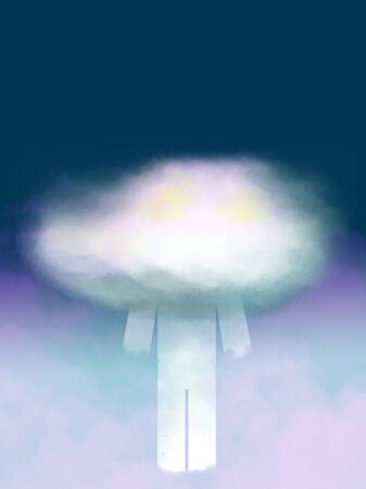 angel alone: Fantastic character with cloud instead of head