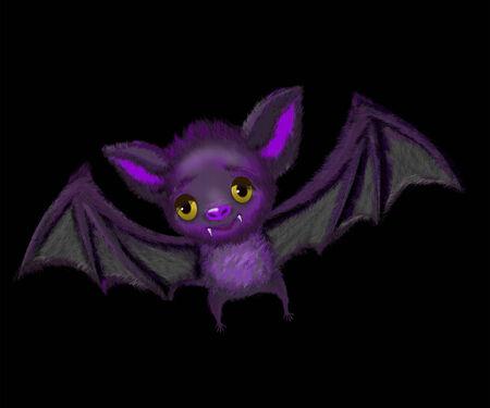 Cute cartoon of a bat flying