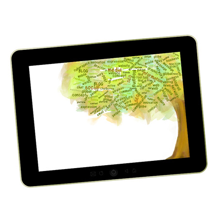 Social network tree  Blog Symbol on a tablet pc  Business growing photo