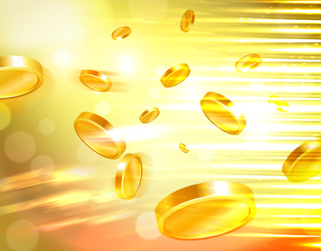win money: Golden money and casino coins flying out at the viewer Stock Photo