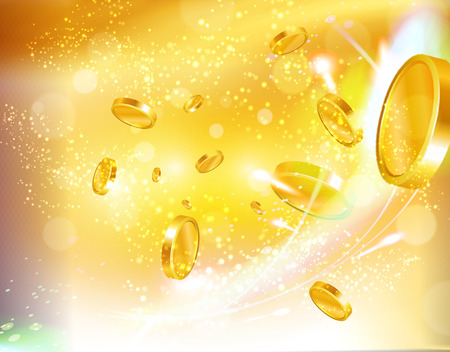 Golden money and casino coins flying out at the viewer. Luxury background. 写真素材