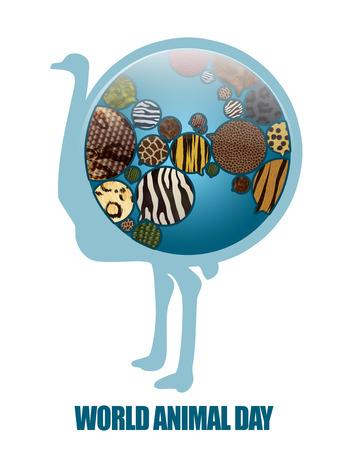 World Animal Day Illustration. Save animals, Save planet. Earth Icon