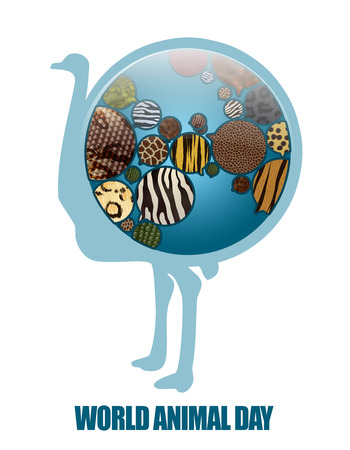antipollution: World Animal Day Illustration. Save animals, Save planet. Earth Icon