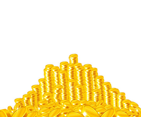 Golden coins stack isolated on white photo