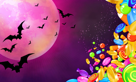 Halloween banner with colorful candies falling, bright moon and bats flying photo