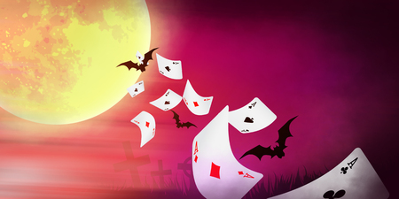 Halloween banner with cards falling, bright moon and bats photo