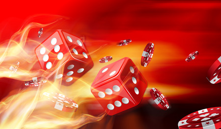 Hot dice game concept with Gambling chips flying photo