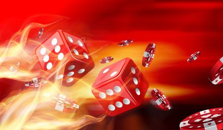 Hot dobbelspel concept met gokken chips vliegen Stockfoto