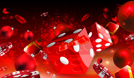 Casino Christmas dice and red balls floating illustration Stock Photo